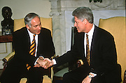 US President Bill Clinton with Israeli Prime Minister Benjamin Netanyahu in the Oval Office of the White House February 13, 1997 In Washington, DC.