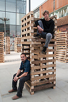 Sami Rintala(L) and Dagur Eggertsson(R) of Rintala-Eggertsson architects Ltd with their installation in Sanlitun North Village, Beijing. October 2009.