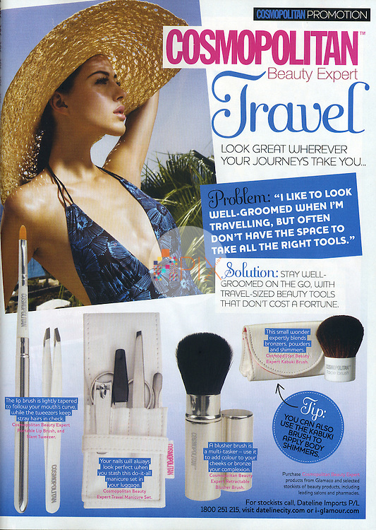 Get ready for your summer holidays with a single page travel beauty advertorial in the October issue of Cosmopolitan, Australia.  <br />