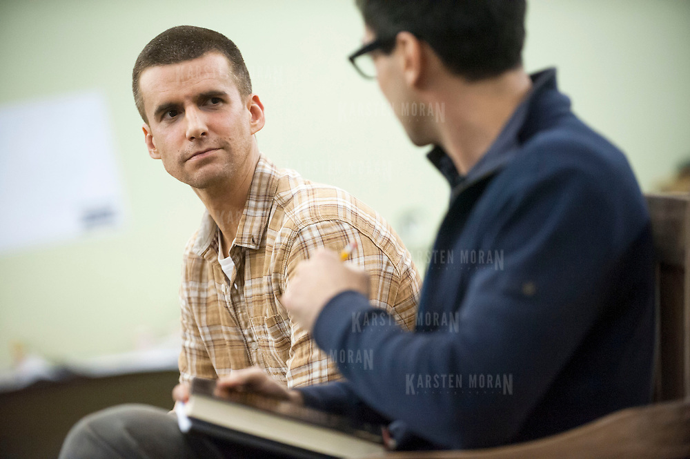 """November 20, 2012 - New York, NY : Actors Armando Riesco, left, and Ryan Shams perform in an early rehearsal for """"Water by the Spoonful"""" at Second Stage Theatre on West 43rd Street in Manhattan on Tuesday night. The play, by Quiara Alegria Hudes, won the 2012 Pulitzer Prize for drama. CREDIT: Karsten Moran for The New York Times"""