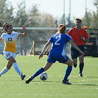 4th year midfielder Shayla Kapila (13) of the Regina Cougars in action during the women's soccer home game on October 1 at U of R Field. Credit: Arthur Ward/Arthur Images