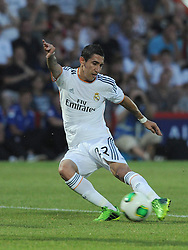 Real Madrid's Angel Di Maria strikes the ball outside the box coming close to scoring. - Photo mandatory by-line: Alex James/JMP  - Tel: Mobile:07966 386802 20/07/2013 -Bournemouth vs Real Madrid  - SPORT - FOOTBALL -  Dean Court-Bournemouth - Real Madrid -