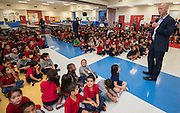 Representatives from CYCLE and LyondellBasell lead a pep rally for students to promote reading at Sherman Elementary School, September 1, 2016. Students will receive bicycles for reading and good behavior.