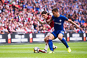Arsenal defender Hector Bellerin (24), Chelsea (28) César Azpilicueta during the FA Community Shield match between Arsenal and Chelsea at Wembley Stadium, London, England on 6 August 2017. Photo by Sebastian Frej.