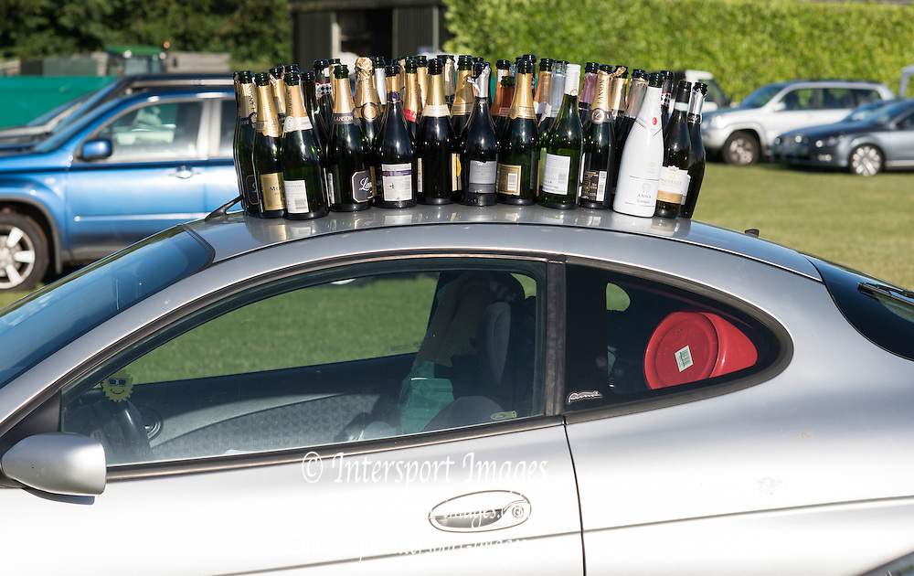 Henley on Thames. United Kingdom.      Bottles on the Car Roof, Lion Field. Saturday,   02/07/2016,    2016 Henley Royal Regatta, Henley Reach.   [Mandatory Credit Peter Spurrier/ Intersport Images]