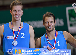 04-01-2015 NED: Open NK Indoor Beachvolleybal, Aalsmeer<br /> Christiaan Varenhorst en Reinder Nummerdor winnen het NK Beachvolleybal