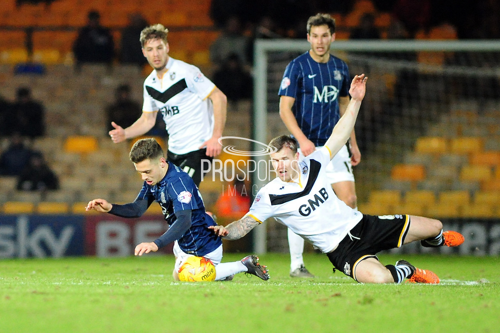 Jack Payne of Southend United and Michael O'Connor of Port Vale FC during the Sky Bet League 1 match between Port Vale and Southend United at Vale Park, Burslem, England on 26 February 2016. Photo by Mike Sheridan.