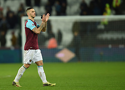 West Ham United's Marko Arnautovic applaud the fans at full time