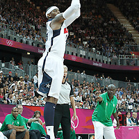 02 August 2012: USA Carmelo Anthony takes a three points jumpshot during 156-73 Team USA victory over Team Nigeria, during the men's basketball preliminary, at the Basketball Arena, in London, Great Britain.