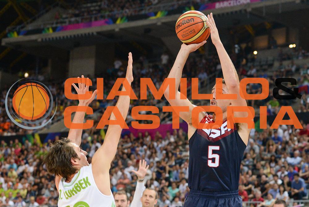 DESCRIZIONE : Barcellona Barcelona FIBA Basketball World Cup Spain 2014 1/4 Finals Slovenia USA<br /> GIOCATORE : Klay THOMPSON<br /> CATEGORIA : <br /> SQUADRA : USA<br /> EVENTO : FIBA Basketball World Cup Spain 2014<br /> GARA :  Slovenia USA<br /> DATA : 09/09/2014<br /> SPORT : Pallacanestro <br /> AUTORE : Agenzia Ciamillo-Castoria<br /> Galleria : FIBA Basketball World Cup Spain 2014<br /> Fotonotizia : Barcellona Barcelona FIBA Basketball World Cup Spain 2014 1/4 Finals Slovenia USA