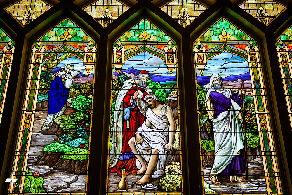 Stained glass depicting the Good Samaritan at Holy Cross Lutheran Church, Collinsville, Ill., on Monday, Nov. 27, 2017. LCMS Communications/Erik M. Lunsford
