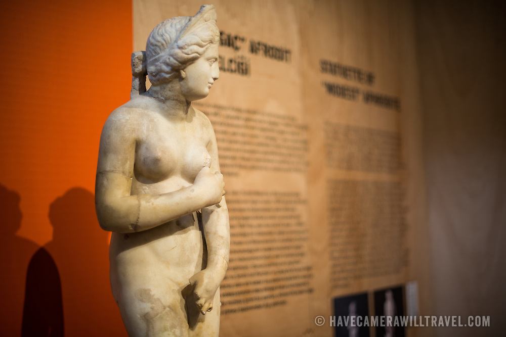 A statuette of 'modest' Aphrodite, dating to the 3rd century AD. It is a crude copy of the statue of Aphrodite known as the Medici Venus in Florence, Italy, which is itself a 1st century BC copy of the Aphrodite of Cnidus. The Istanbul Archaeology Museums, housed in three buildings in what was originally the gardens of the Topkapi Palace in Istanbul, Turkey, holds over 1 million artifacts relating to Islamic art, historical archeology of the Middle East and Europe (as well as Turkey), and a building devoted to the ancient orient.