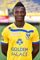 STVV's Salomon Nirisarike poses for the photographer during the 2015-2016 season photo shoot of Belgian first league soccer team STVV, Friday 17 July 2015 in Sint-Truiden.