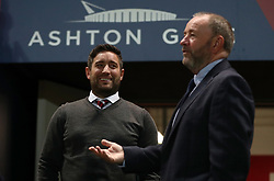 Bristol City head coach Lee Johnson talks to his father Gary Johnson, Manager of Cheltenham Town before the match - Mandatory by-line: Gary Day/JMP - 13/10/2017 - FOOTBALL - Ashton Gate Stadium - Bristol, England - Bristol City v Burton Albion - Sky Bet Championship