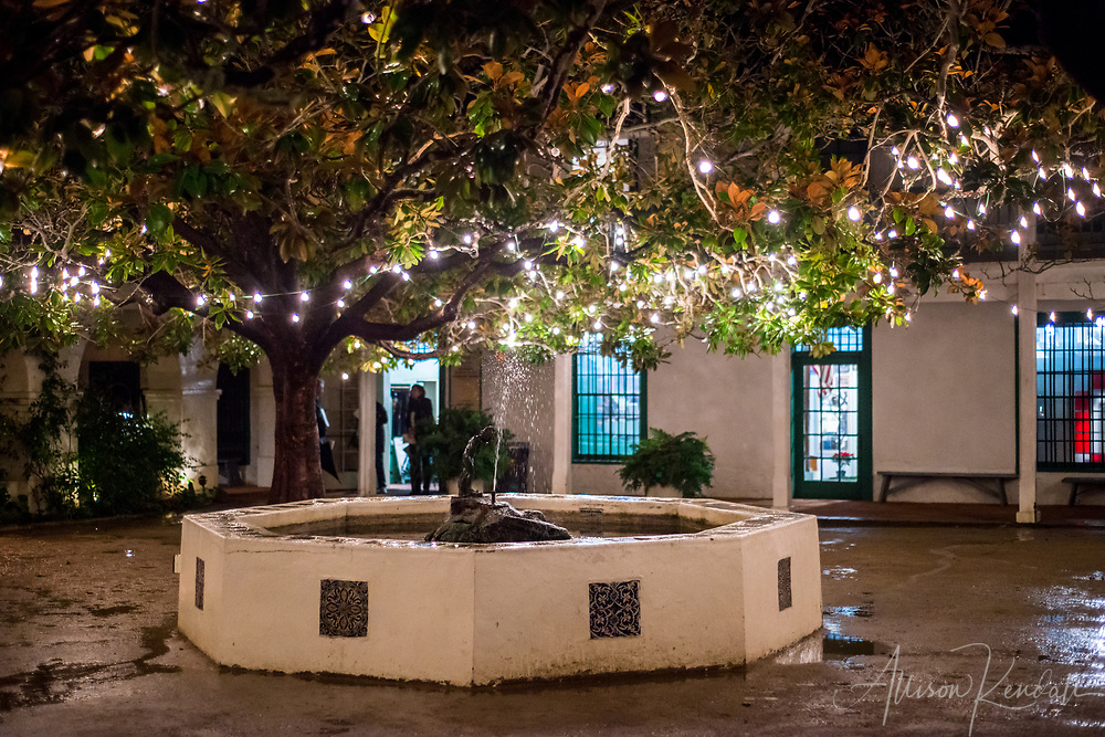 Scenes and details from a Christmas holiday tour of the historic adobe buildings in downtown Monterey, California