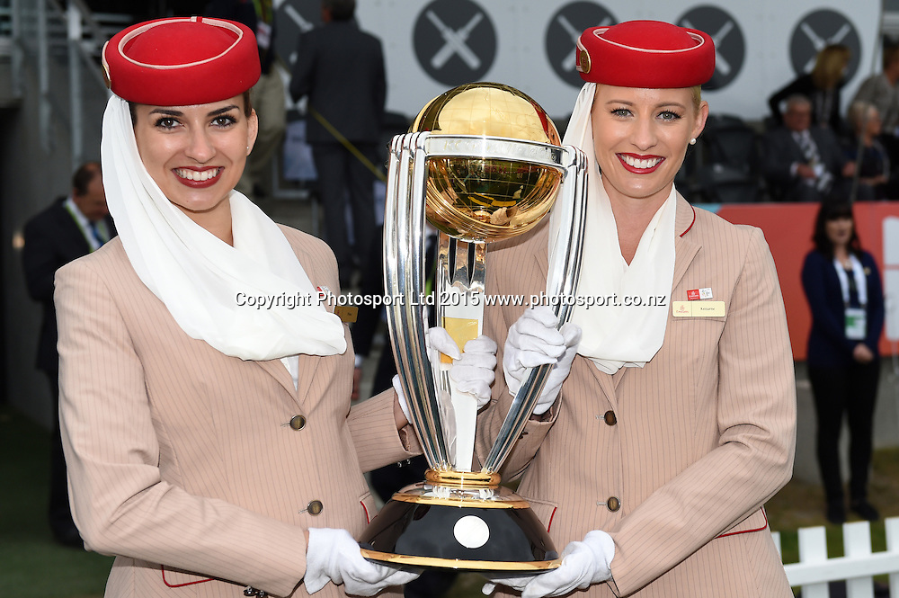 CWC trophy with Emirates flight attendants at the ICC Cricket World Cup match between New Zealand and Sri Lanka at Hagley Oval in Christchurch, New Zealand. Saturday 14 February 2015. Copyright Photo: Andrew Cornaga / www.Photosport.co.nz