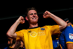 Dean Henderson of Shrewsbury Town celebrates winning the playoff semi-final against Charlton Athletic- Mandatory by-line: Robbie Stephenson/JMP - 13/05/2018 - FOOTBALL - Montgomery Waters Meadow - Shrewsbury, England - Shrewsbury Town v Charlton Athletic - Sky Bet League One Play-Off Semi Final