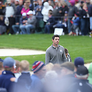 Ryder Cup 2016. Rory McIlroy of Europe heads to the 18th tee during practice day in front of massive crowds at the Hazeltine National Golf Club on September 28, 2016 in Chaska, Minnesota.  (Photo by Tim Clayton/Corbis via Getty Images)