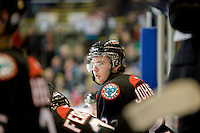 KELOWNA, CANADA, DECEMBER 3: Mackenzie Johnston #22 of the Kelowna Rockets stands on the bench as the Prince George Cougars visit the Kelowna Rockets  on December 3, 2011 at Prospera Place in Kelowna, British Columbia, Canada (Photo by Marissa Baecker/Shoot the Breeze) *** Local Caption ***