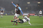 13 Jeff Hendrick for Burnley FC claims a penalty after a challenge by Fulham defender Maxime Le Marchand (20) during the Premier League match between Burnley and Fulham at Turf Moor, Burnley, England on 12 January 2019.