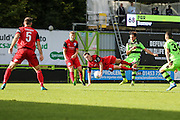 Forest Green Rovers Darren Carter(12) shoots at goal during the Vanarama National League match between Forest Green Rovers and Barrow at the New Lawn, Forest Green, United Kingdom on 1 October 2016. Photo by Shane Healey.
