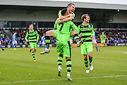 Forest Green Rovers Keanu Marsh-Brown(7) and Forest Green Rovers Liam Noble(15) and celebrates scores a goal 0-1 during the Vanarama National League match between Macclesfield Town and Forest Green Rovers at Moss Rose, Macclesfield, United Kingdom on 12 November 2016. Photo by Shane Healey.