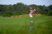 Matthew Riedel tees off during the Under Armour® / Jordan Spieth Championship presented by American Campus Communities at Trinity Forest Golf Club in Dallas, Texas on August 15, 2017. CREDIT: Cooper Neill for The Wall Street Journal<br /> JRGOLF