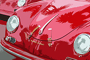 Photo illustration of a red hood with palm tree reflection Porsche 356 Speedster car in California, America west