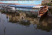 Boats moored at wharf of Canottieri Milano (Rowing Society) along Naviglio Grande (canal) in Milan, April, 2011. © Carlo Cerchioli..Barche attraccate al pontile della Canottieri Milano lungo il Naviglio Grande a Milano, aprile 2011.