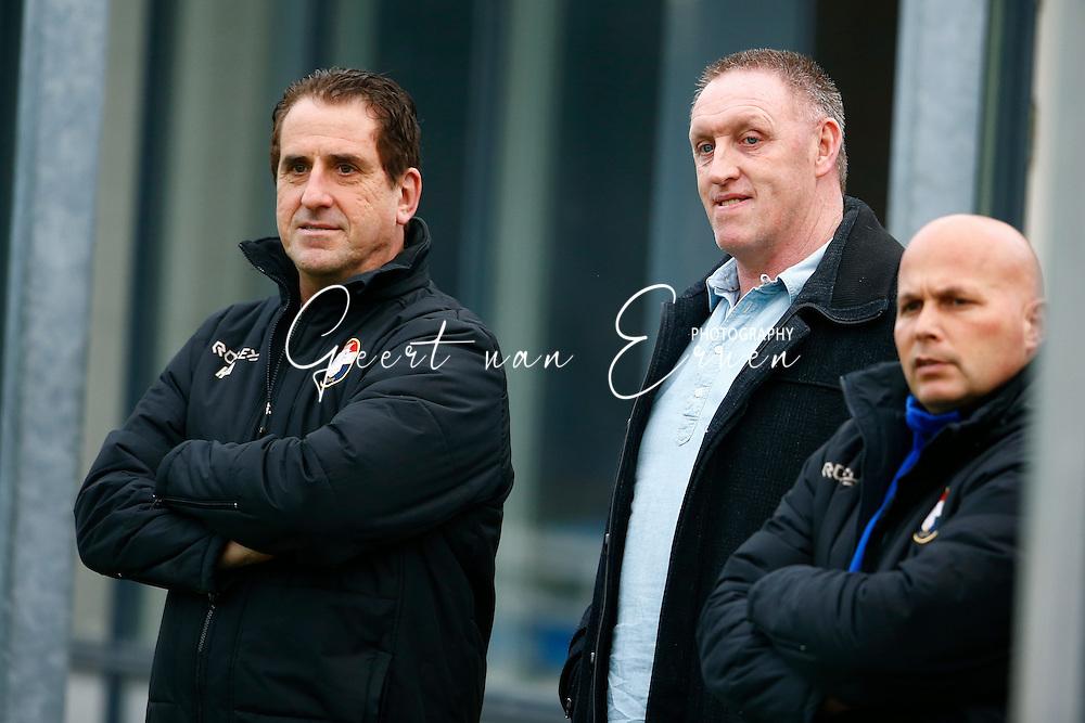 12-11-2015 VOETBAL:ACHILLES 29-WILLEM II:GROESBEEK<br /> Vriendschappelijk wedstrijd <br /> <br /> Henri van Amelsfort (L) John Feskens (PSV) (C) en Raymond Vissers (R) <br /> <br /> Foto: Geert van Erven