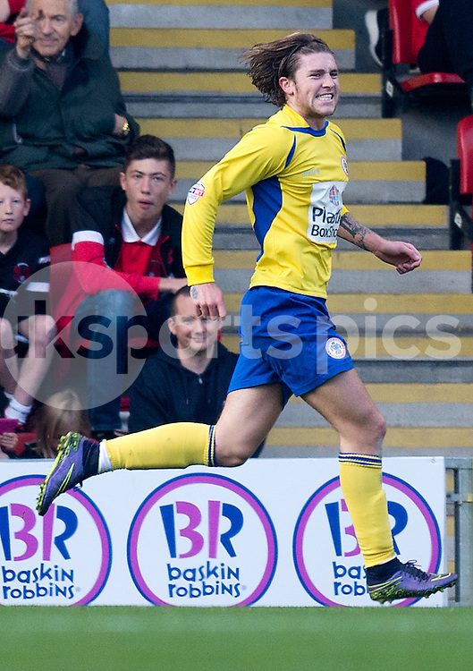 Josh Windass of Accrington Stanley celebrates scoring the opening goal during the Sky Bet League 2 match between Leyton Orient and Accrington Stanley at the Matchroom Stadium, London, England on 31 October 2015. Photo by Vince  Mignott.