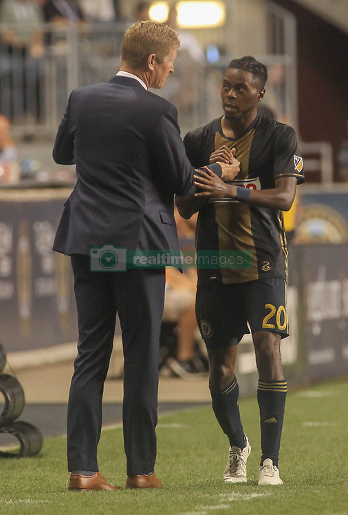 July 26, 2017 - Chester, PA, United States of America - Philadelphia Union Manager JIM CURTIN and Philadelphia Union Midfielder MARCUS EPPS (20) exchange words on the sideline in the second half of a Major League Soccer match between the Philadelphia Union and Columbus Crew SC Wednesday, July. 26, 2017, at Talen Energy Stadium in Chester, PA. (Credit Image: © Saquan Stimpson via ZUMA Wire)