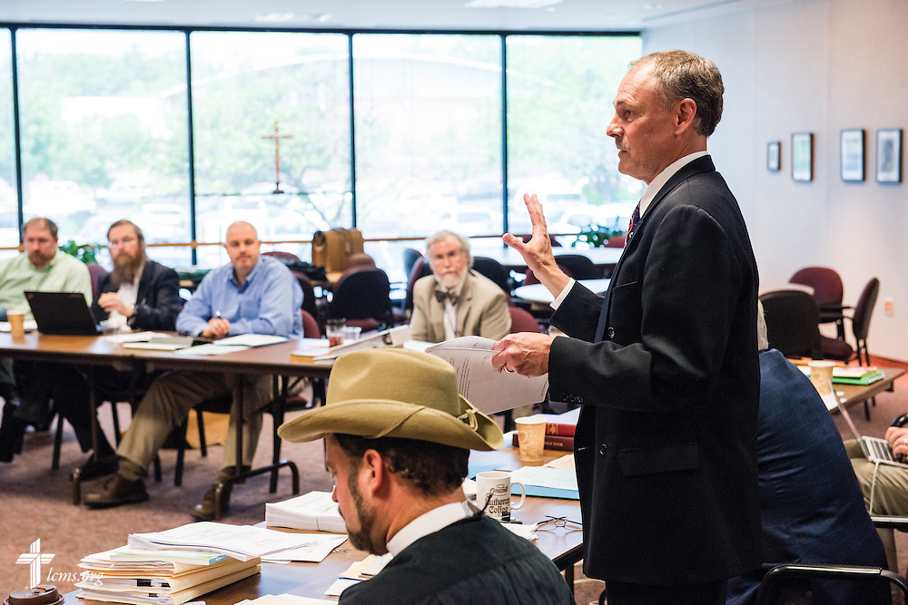Dr. Joel D. Lehenbauer, executive director of the Commission on Theology and Church Relations, leads a CTCR meeting on Thursday, May 15, 2014, at the International Center of The Lutheran Church--Missouri Synod in Kirkwood, Mo.  LCMS Communications/Erik M. Lunsford