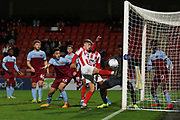 George Lloyd misses the open goal   during the leasing.com EFL Trophy match between Cheltenham Town and U21 West Ham United at Jonny Rocks Stadium, Cheltenham, England on 8 October 2019.