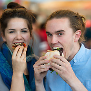 01/09/2017<br /> <br /> Pictured enjoying the Limerick Urban Food Fest, the opening event of the Pigtown Food &amp; Culture Series at the Milk Market, Limerick, were Ventura Jones from Pery Square, and Oisin McHugh from Raheen, Limerick.<br /> Picture: Diarmuid Greene/Alan Place Photography
