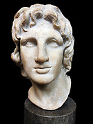 Marble portrait of Alexander the GreatHellenistic Greek, 2nd-1st century BC. Alexander (reigned 336-323 BC) chose only a few artists to produce his image, and famous names such as the sculptor Lysippos and the painter Apelles were associated with his portraiture.