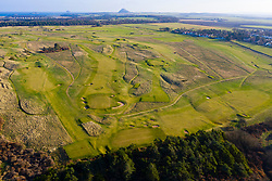 Aerial view of Muirfield Golf Course in Gullane , East Lothian, Scotland, UK
