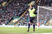 Dundee youngster Calvin Colquhoun warms up before making his debut as a substitute -  Celtic v Dundee - SPFL Premiership at Celtic Park<br /> <br /> <br />  - © David Young - www.davidyoungphoto.co.uk - email: davidyoungphoto@gmail.com
