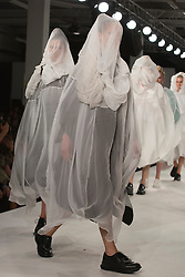 © Licensed to London News Pictures. 02/06/2014. London, England. Graduate Fashion Week 2014, Collection by Phoebe Kowalska from Kingston University. Runway Show at the Old Truman Brewery in London, United Kingdom. Photo credit: Bettina Strenske/LNP