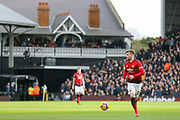 Manchester United Defender Luke Shaw during the Premier League match between Fulham and Manchester United at Craven Cottage, London, England on 9 February 2019.
