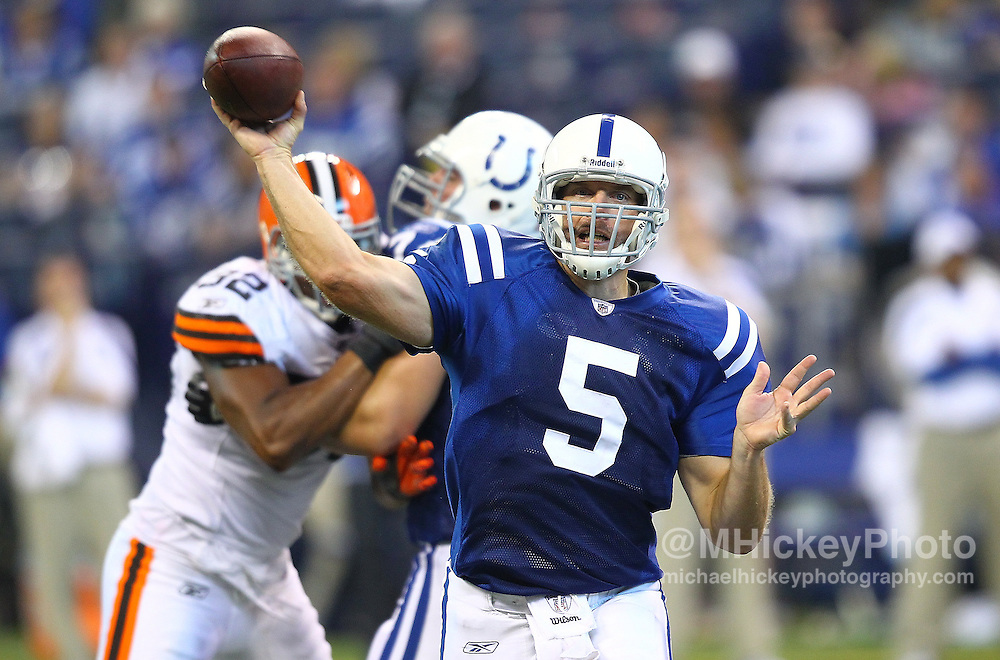 Sept. 18, 2011; Indianapolis, IN, USA; Indianapolis Colts quarterback Kerry Collins (5) throws the ball against the Cleveland Browns at Lucas Oil Stadium. Cleveland defeated Indianapolis 27-19. Mandatory credit: Michael Hickey-US PRESSWIRE