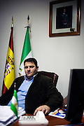 Pedro Romero, the mayor of Espera, sit in his office on Thursday, March 5, 2009, in Espera, Spain. In Espera, Andalucía, 80 % (approximately) of its inhabitants are currently unemployed due to the financial crisis. The town's economy moved from farming to construction at the beginning of the decade and now almost all the construction companies have closed their doors, as there are no property buyers. The situation is critical and some families have all their members unemployed and with serious problems to bring food to the table. As a result, the local council is giving temporal employment to Espera's residents in order to keep up with the crisis.