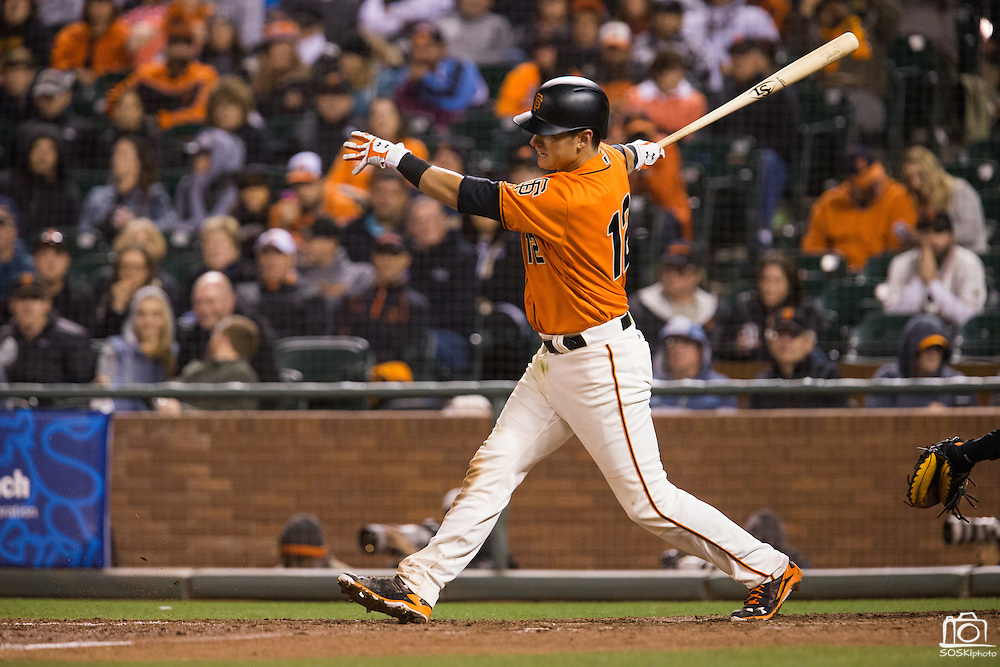San Francisco Giants second baseman Joe Panik (12) swings and misses during an at-bat against the Baltimore Orioles at AT&T Park in San Francisco, Calif., on August 12, 2016. (Stan Olszewski/Special to S.F. Examiner)