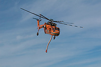 Canadian Air Crane Forest Fire helicopter taking off, Comox, Vancouver Island, Canada