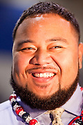 "July 2 - PHOENIX, AZ: Arizona Cardinals' offensive lineman TAITUSI ""Duece"" LATUI,   originally from Tonga, is sworn as a US citizen Friday. Nearly 200 people were sworn in as US citizens during the ""Fiesta of Independence"" at South Mountain Community College in Phoenix, AZ, Friday. The ceremony is an annual event on th 4th of July weekend and usually the largest naturalization ceremony of the year in the Phoenix area.  Photo by Jack Kurtz"