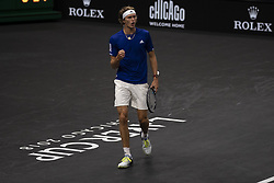 September 22, 2018 - Chicago, Illinois, U.S - Team Europe member ALEXANDER ZVEREV of Germany celebrates a point during the first singles match between Team Europe and Team World on Day Two of the Laver Cup at the United Center in Chicago, Illinois. (Credit Image: © Shelley Lipton/ZUMA Wire)