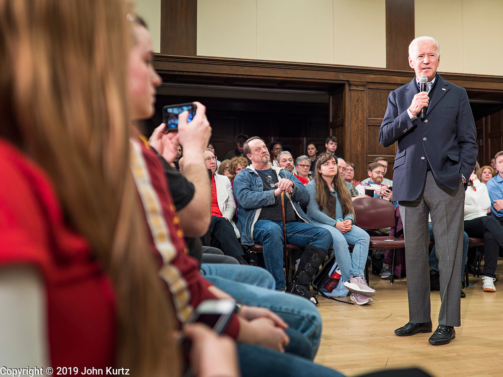 """04 DECEMBER 2019 - AMES, IOWA: Former Vice President JOE BIDEN speaks at a campaign event in Ames Wednesday. Vice President Biden is touring Iowa this week on his """"No Malarkey"""" bus tour. He spoke at Iowa State University. Iowa hosts the first presidential selection event of the 2020 election cycle. The Iowa caucuses are on February 3, 2020.          PHOTO BY JACK KURTZ"""