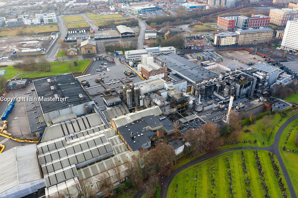 View of Wellpark Brewery home of Tennent Caledonian Brewers in East End of Glasgow, Scotland, UK