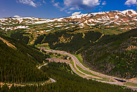 Looking from Loveland Pass to Interstate 70 and the Eisenhower/Johnson tunnels crossing under Loveland Basin ski area and the Continental Divide, Colorado USA.