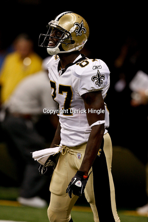 August 21, 2010; New Orleans, LA, USA; New Orleans Saints wide receiver Adrian Arrington (87) reacts after scoring a touchdown during the second half of a 38-20 win by the New Orleans Saints over the Houston Texans during a preseason game at the Louisiana Superdome. Mandatory Credit: Derick E. Hingle